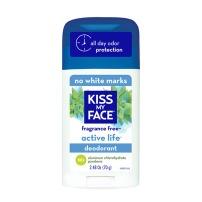 kiss my face fragrance free deoderant, white bottle blue top