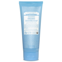 Unscented Organic Shaving Soap, blue tube from dr. Bronner's with small text all over container