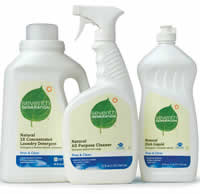 white bottle of seventh generation cleaning products, left to right, laundry detergent, cleaning spray, and dish soap